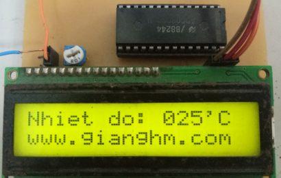 Mạch cảm biến nhiệt độ dùng LM35 + 89s52 hiển thị LCD V1.0