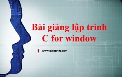 Bài giảng lập trình C for win – Trần Minh Thái