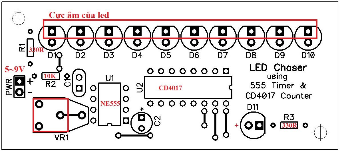 Mạch LED Chaser dùng NE555 và CD4017