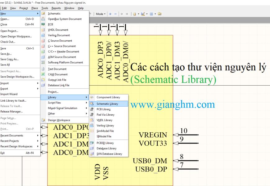 Các cách tạo thư viện nguyên lý ( Schematic Library ) thông dụng