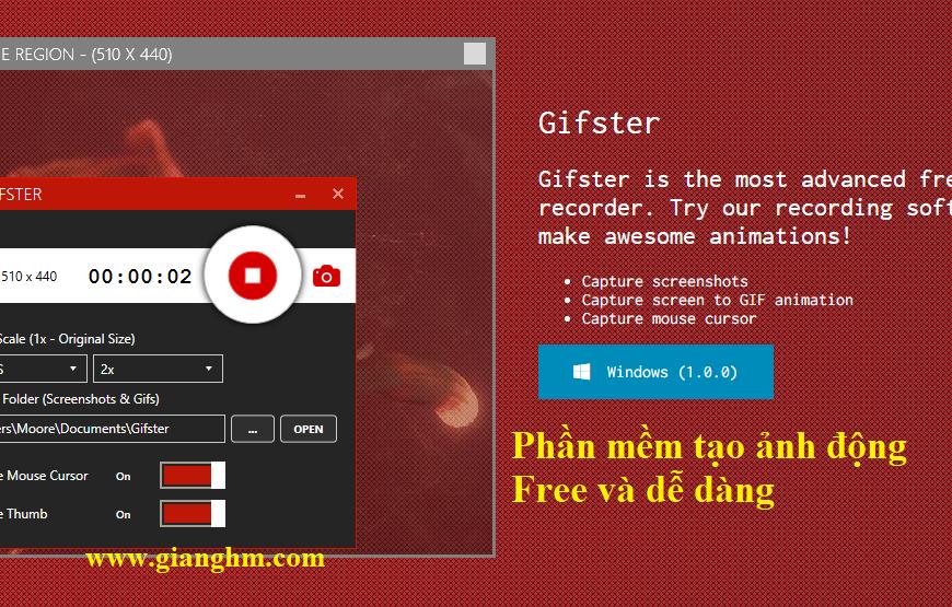 Gifster – Phần mềm tạo ảnh động (.GIF) nhanh chóng và dễ dàng
